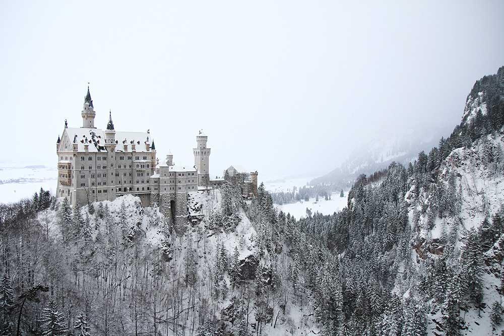 германия бавария нойшванштайн замок зима