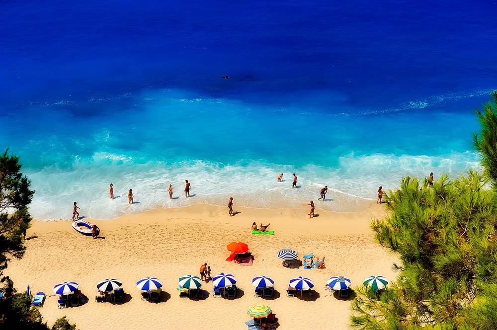 греция пляж берег загар море