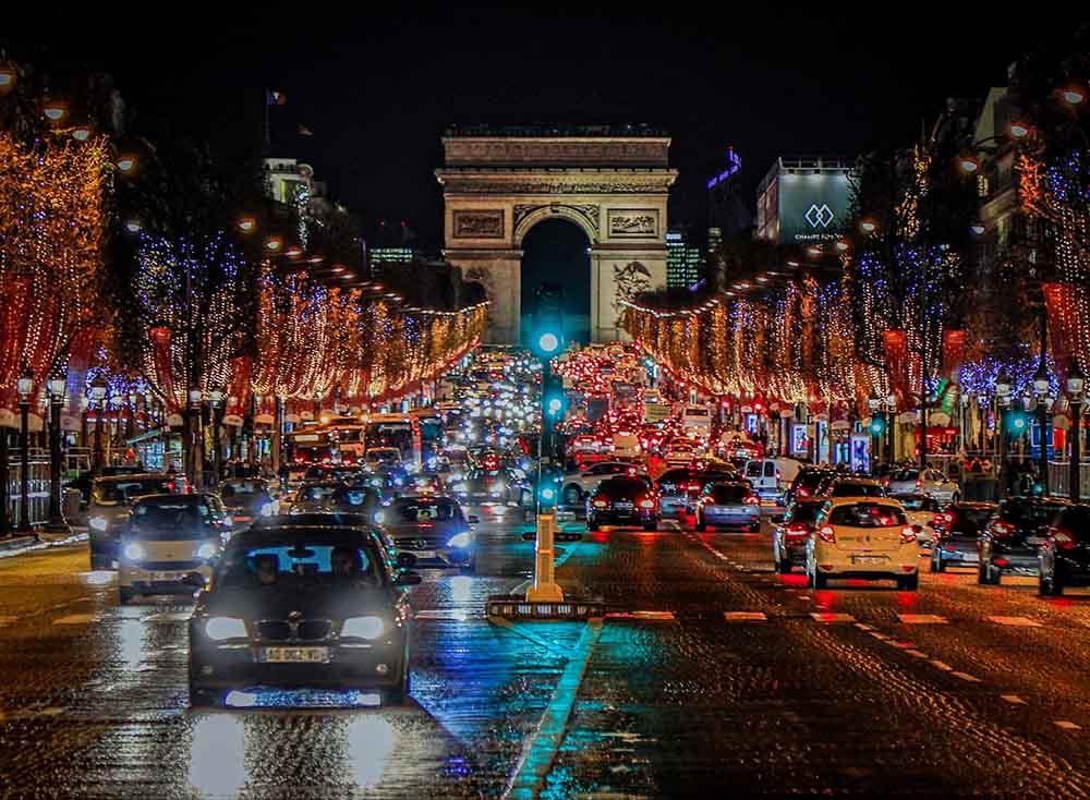 триумфальная арка париж рождество январь декабрь зима